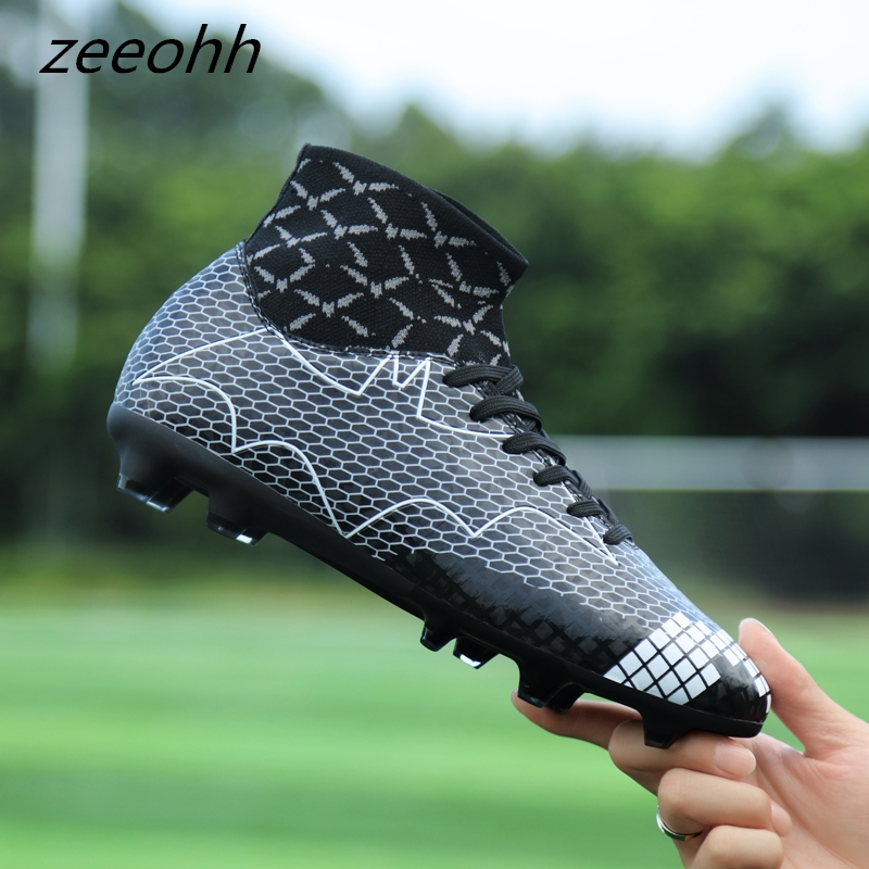 Zeeohh Soccer Men's High Top Training Ankle AG Sole Outdoor Cleats Football Shoes Spike High Ankle Men Football Boots Shoes M