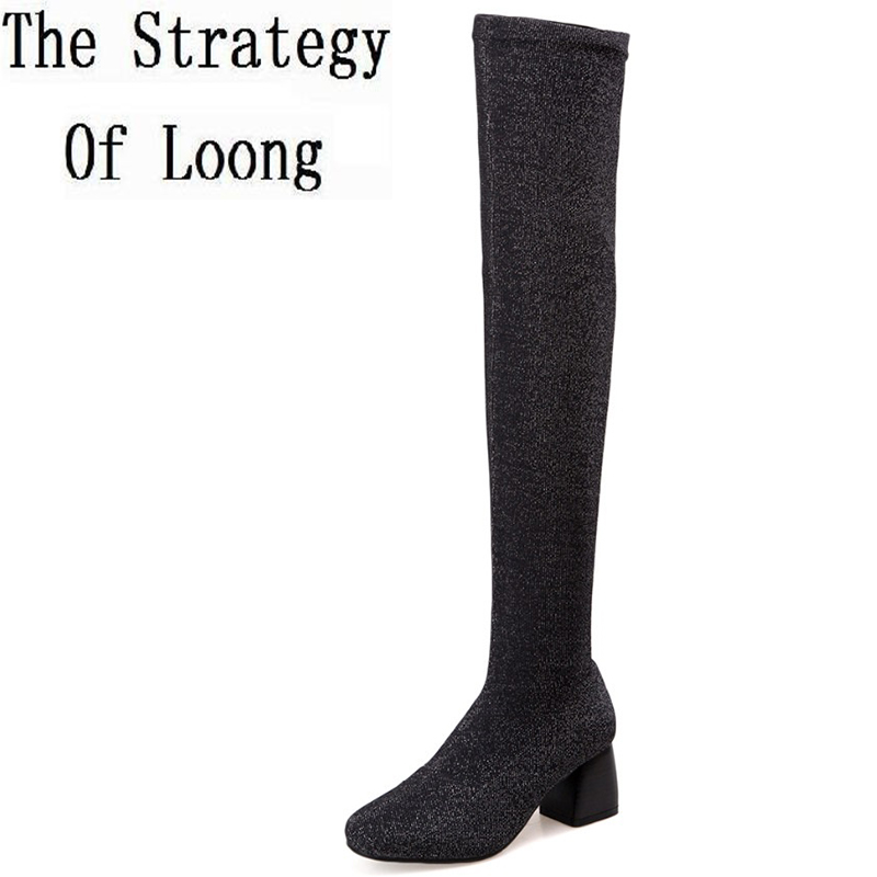 Women Streth Fabric Short Plush Thick Warm Thigh High Boots Fashion Winter Stovepipe High Heels Long Boots 20170214