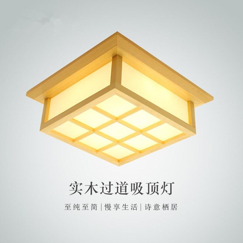 Modern LED Square Surface mounted OAK Wood PVC lamparas de techo home wooden led ceiling lamp