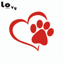 Cute Dog Paw with Heart Car Sticker