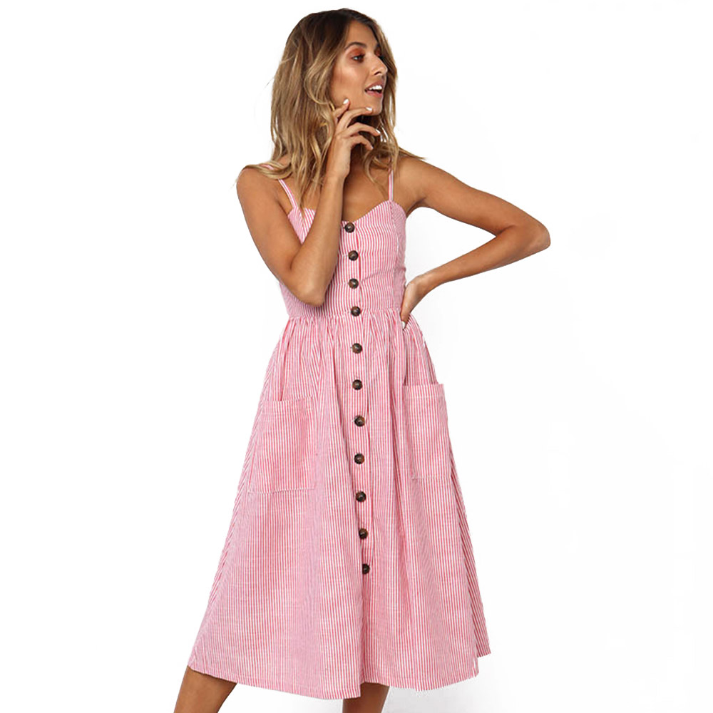 8984a9244056 Online Shop Pink Striped Sundress Sexy Spaghetti Strap Button Midi Beach  Sleeveless Summer Dresses Blue Backless Pockets Boho Dress Female