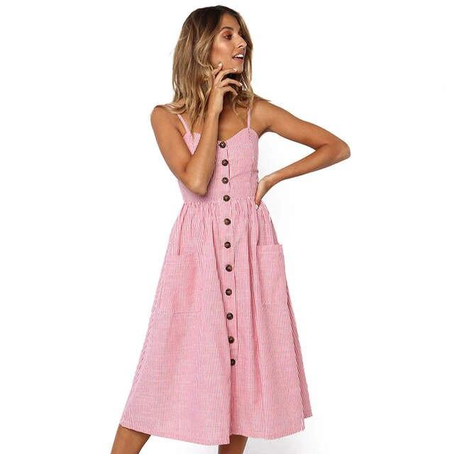cfa01e6e105 placeholder Pink Striped Sundress Sexy Spaghetti Strap Button Midi Beach  Sleeveless Summer Dresses Blue Backless Pockets Boho