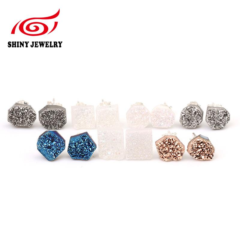 stone double product european chakra point charms plated earrings fashionable natural mini musiling gold stud jewelry