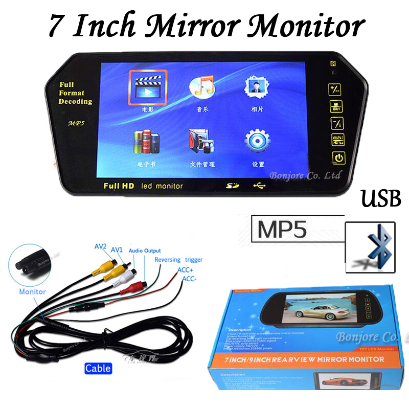 Parking 7 Inch TFT LCD Car Mirror monitor with MP5 SD/USB Slot Bluetooth Rearview Screen Reversing 12v Hight Resolution 1024*600 7 car mirror monitor tft lcd vehicle car reaview mirror screen with remote controller bluetooth usb sd mp5 video player