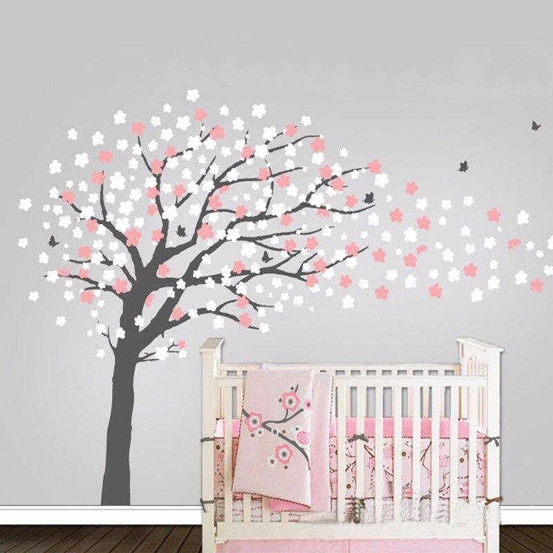 US $31.99 20% OFF|Kindergarten Baum Zeitgenössische Kirschblüten Wandtattoo  mit Vögel Schmetterlinge Wandbild Dekoration Wandaufkleber für ...