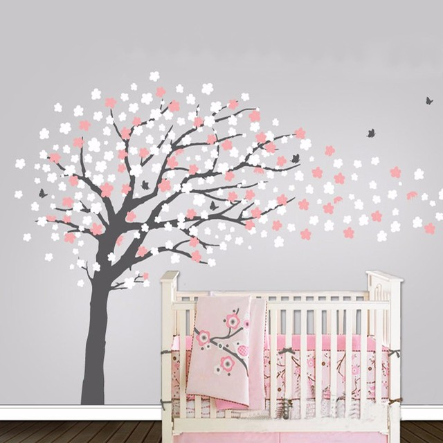 Nursery Tree Contemporary Cherry Blossom Tree Wall Decal With Birds  Butterflies Mural Decoration Wall Stickers For