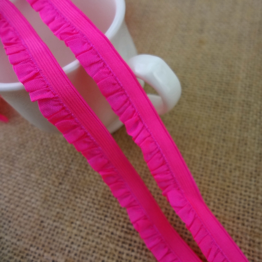 #1158 Bright Neon Rose Elastic Band 4yards/lot Lace Trim 12MM Wide Stretch Lace Ribbon Riband Tape Baby Headbands DIY Sewing