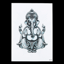 1 PC Beauty Makeup Temporary Women Men Body Art Tattoo Sticker HB247 Thailand Elephant Gold Ganesha Picture Design Tattoo Selfie