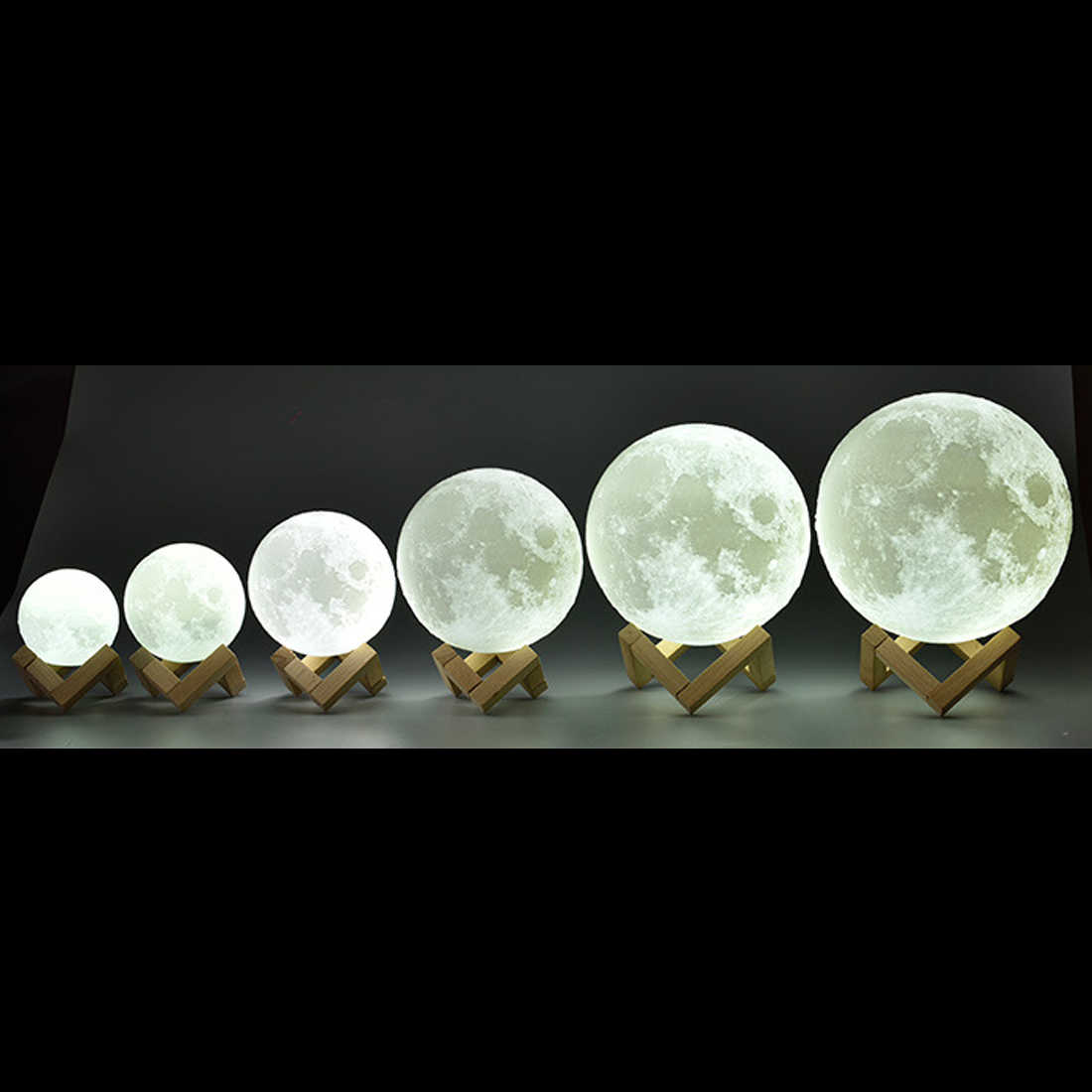 Rechargeable Moon Lamp 2 Color Change 3D Light Touch Switch 3D Print Lamp Moon Bedroom Bookcase Night Light Creative Gifts