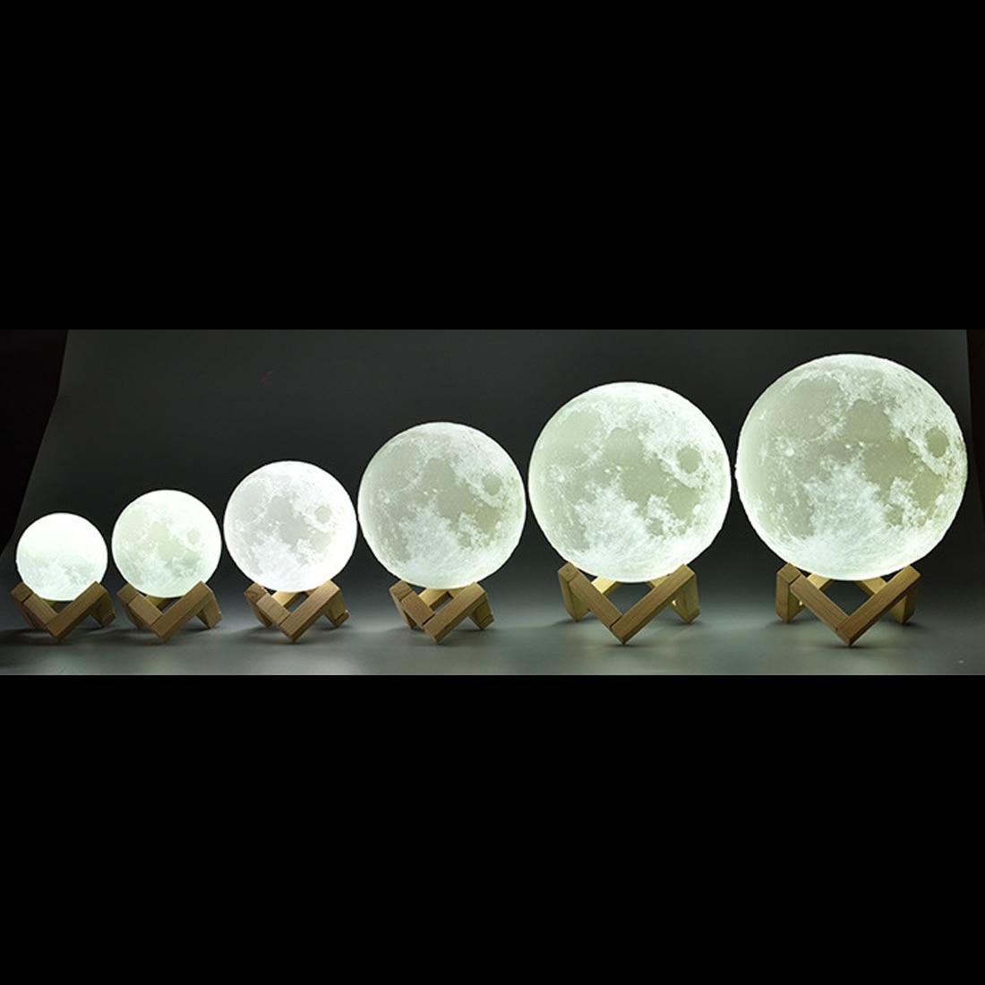 ชาร์จ Moon 2 สีเปลี่ยน 3D สวิทช์ 3D พิมพ์โคมไฟดวงจันทร์ห้องนอนตู้หนังสือ Creative ของขวัญ