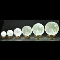 قابلة للشحن مصباح قمري 2 تغيير لون ثلاثية الأبعاد ضوء اللمس التبديل ثلاثية الأبعاد طباعة مصباح القمر غرفة نوم خزانة ليلة ضوء الهدايا الإبداعية-في مصابيح ليلية من مصابيح وإضاءات على