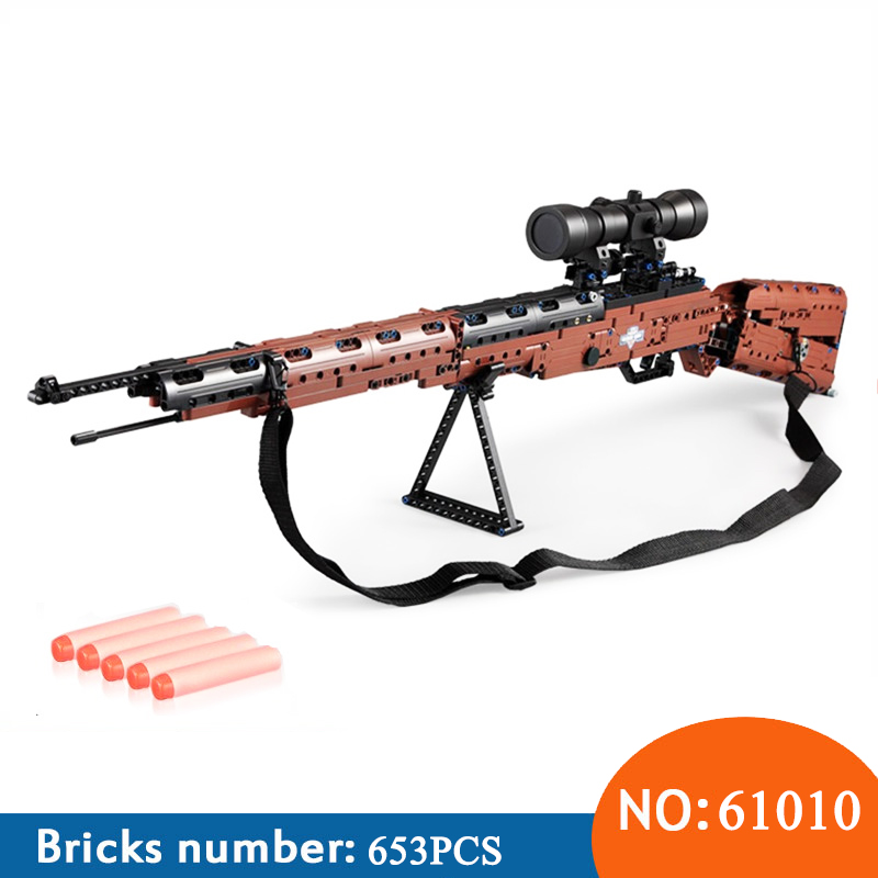 C61010 DIY Building Blocks Soft Bullet Gun Toy Kids Electrical Of 98K Rifle Gun Construction Outdoor