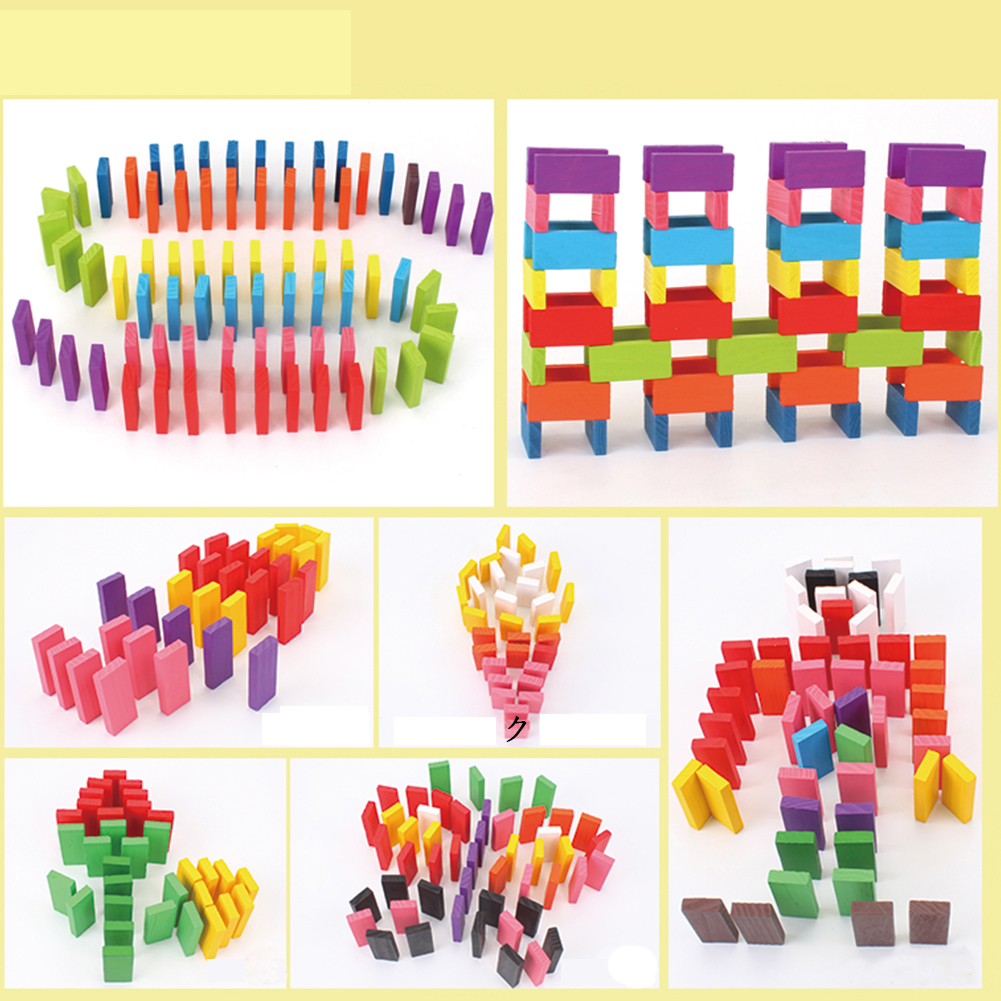 240pcs Colored Wooden Domino Set 33