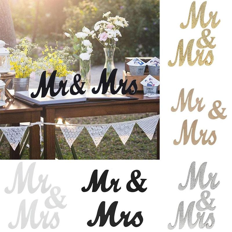 Wooden Mr Mrs Wedding Decoration Diy White Letter Romantic Mariage