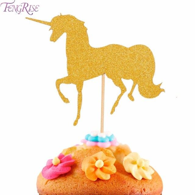 Fengrise 5 Stucke Einhorn Kuchen Topper Gold Pegasus Hochzeitstorte