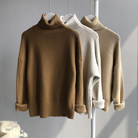 winter woman soft loose turtleneck sweaters beige fashion solid black thick batwing sleeve oversize knitted pullovers green