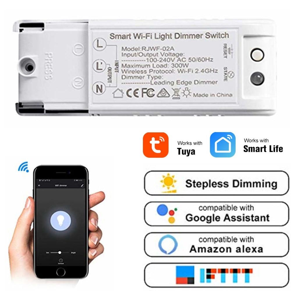 Inteligente Interruptor de Luz Wi-fi Módulo Dimmer Intellegent Disjuntor Temporizador Interruptor de Voz Tuya Trabalho Com Alexa Google APP Domótica