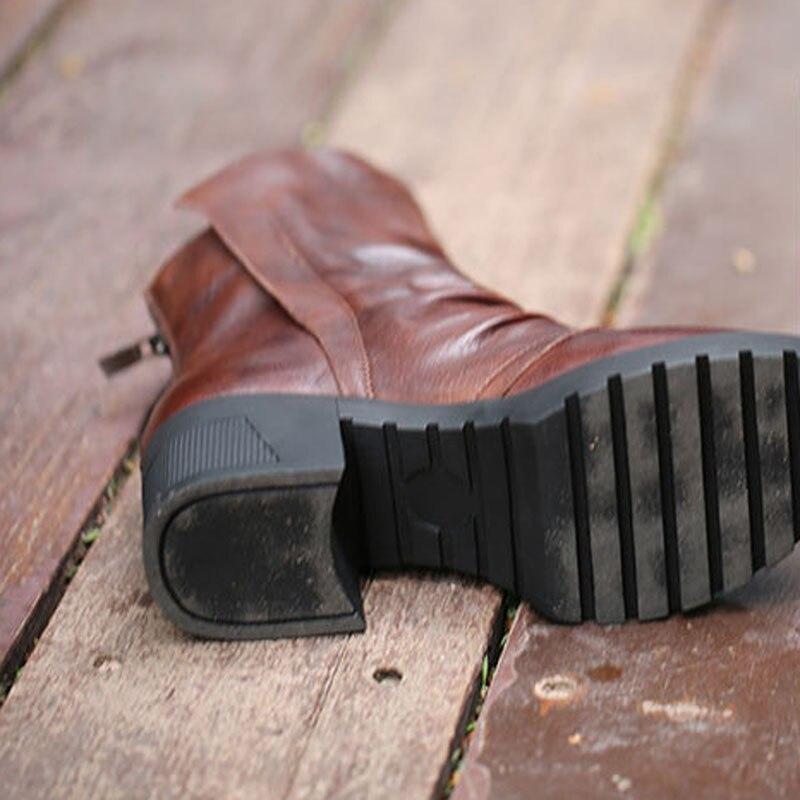 di gli nero Inverno strato letteraria pelle pelle rotonda con maiale Top di  testa velluto marrone New stivali ... 78d5145fbd5