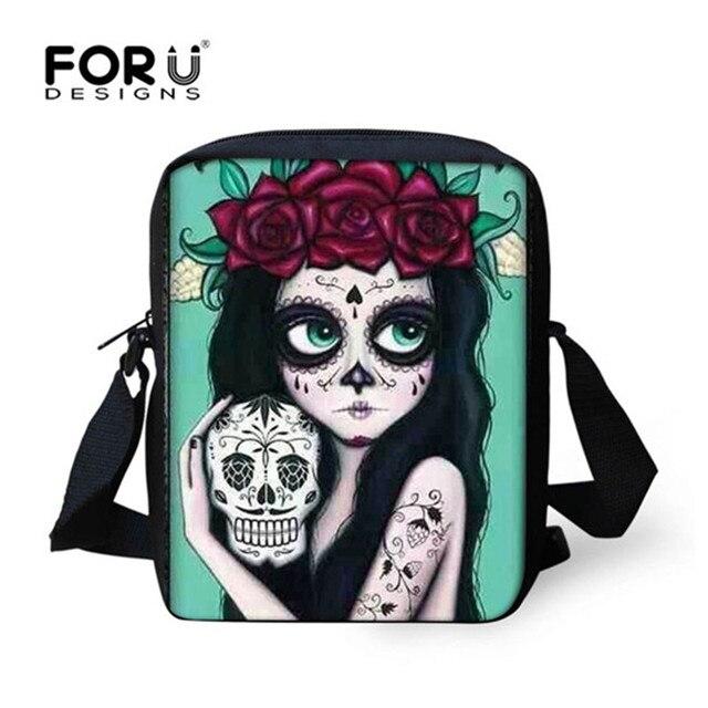 b17761a676 FORUDESIGNS Cool Ladies Small Cartoon Messenger Bags Crossbody Bag Vintage  Skull Print School Mini Casual Shoulder Book Flap Bag