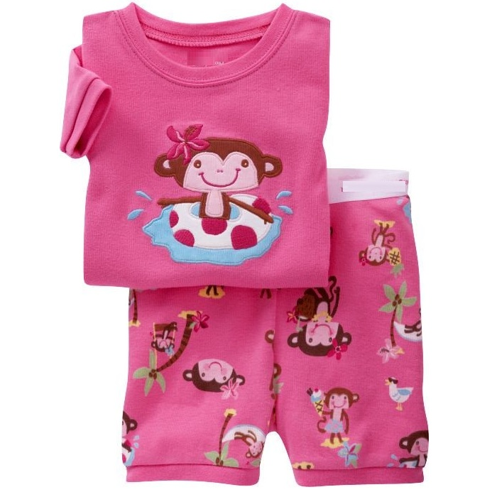 Red Monkey Children Pajamas Sets Girls Clothing 2pc Suit Sleepwear Night Robe nightdress kids household clothes Cotton PJS