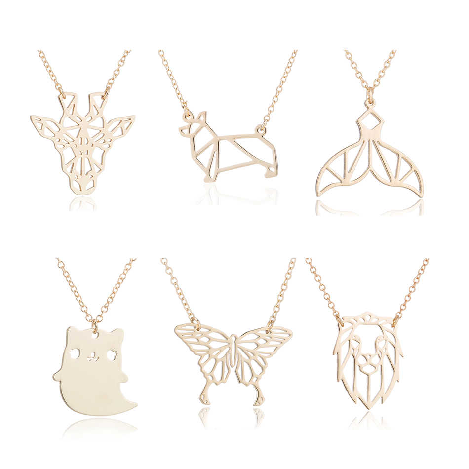 Hfarich Stainless Steel Mickey Head Necklace for Women Kids Jewelry Fashion Origami Elephant Dog Horse Lion Pendant Necklace