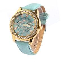 New 2016 Watches Women Faux Leather Geneva Watch Roman Numerals Bracelet Watches Fashion Analog Quartz-Watch Crystal Reloj Mujer