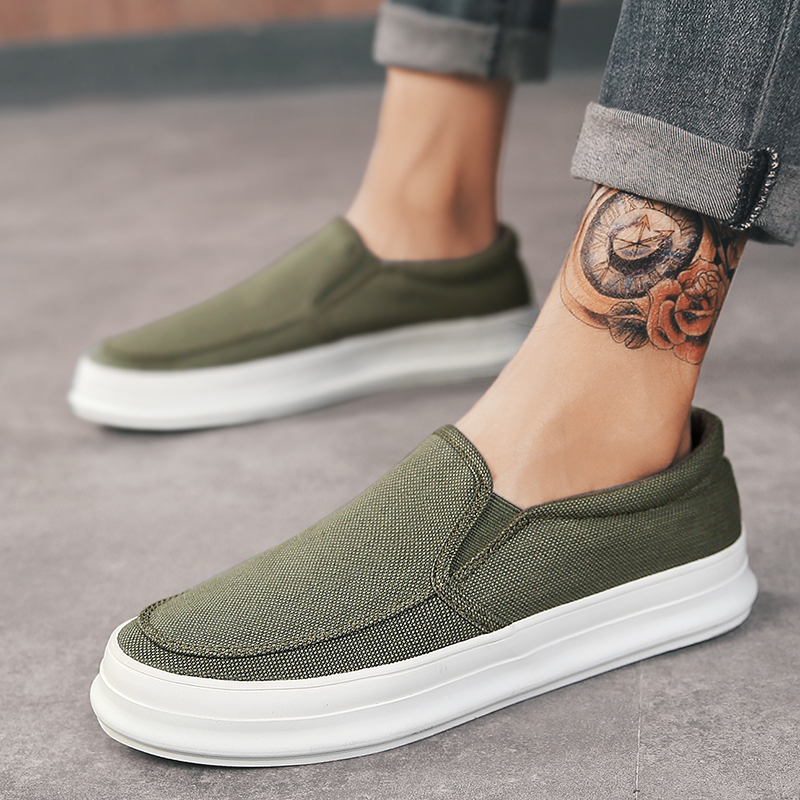 2018 Old Beijing Cloth Shoe Men A Foot Pedal Lazy Person Shoe Recreational Men 39 s Shoe Thick Bottom Heighten Men 39 s Canvas Shoes 5 in Men 39 s Casual Shoes from Shoes