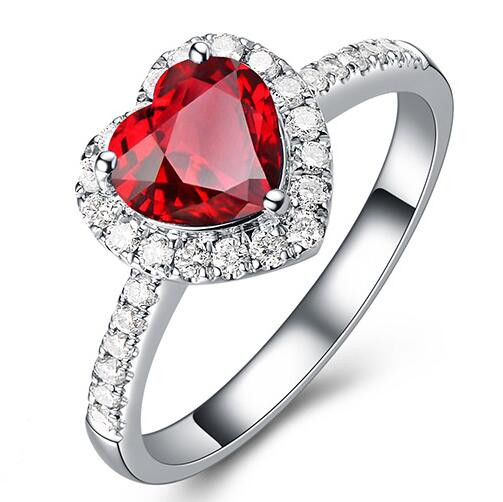 White Gold plated Heart Shaped red ruby Cubic Zirconia with micro