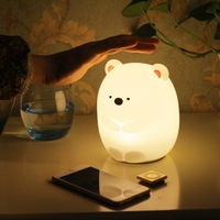 LED Silicone Cute Bear Night Light Control Bedside Lamp for Children Kid Toy Gift for Bedroom Living Room Color Changing Lamp