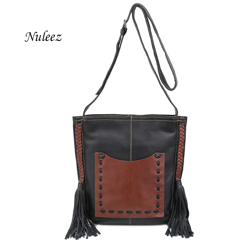 Nuleez genuine leather messenger bag women soft cowhide hand-made braid unique bucket bagNuleez genuine leather messenger bag women soft cowhide hand-made braid unique bucket bag
