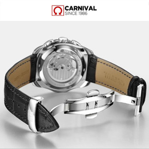 Image 5 - Carnival military sports automatic mechanical watch men sapphire full steel leather strap luxury brand mens watches relogio saat