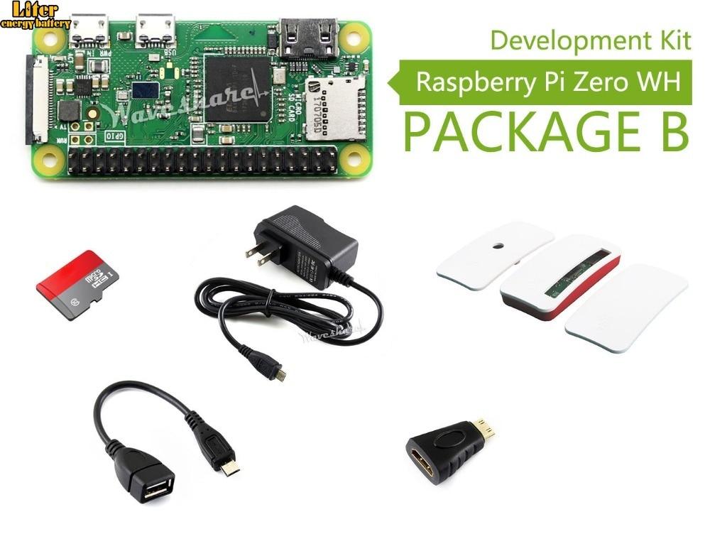 Raspberry Pi Zero WH (WiFi intégré, en-têtes pré-soudés) Type B, carte Micro SD, adaptateur secteur, boîtier officiel, composants de base
