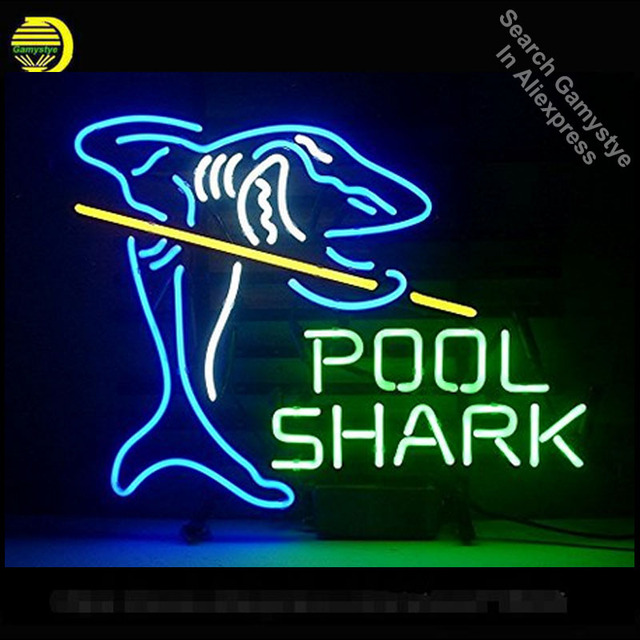 Pool Shark Neon Sign Handmade Glass Tube neon art for sale Guarantee neon lights vintage Lamps Recreation Room Iconic Sign