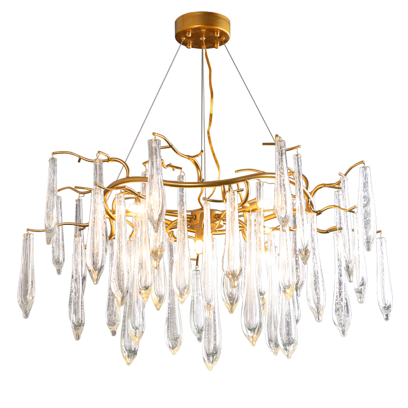 American living room/bedroom Tree Branch Pendant Lights Gold color iron Crystal pendant lamp Hotel Project G9 interface american style crystal pendant light iron retro gold circular lamps for hotel living room restaurant bedroom dhl free