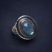 Natural Blue Fire Labradorite Handmade Unique 925 Sterling Silver Ring 8 B1036