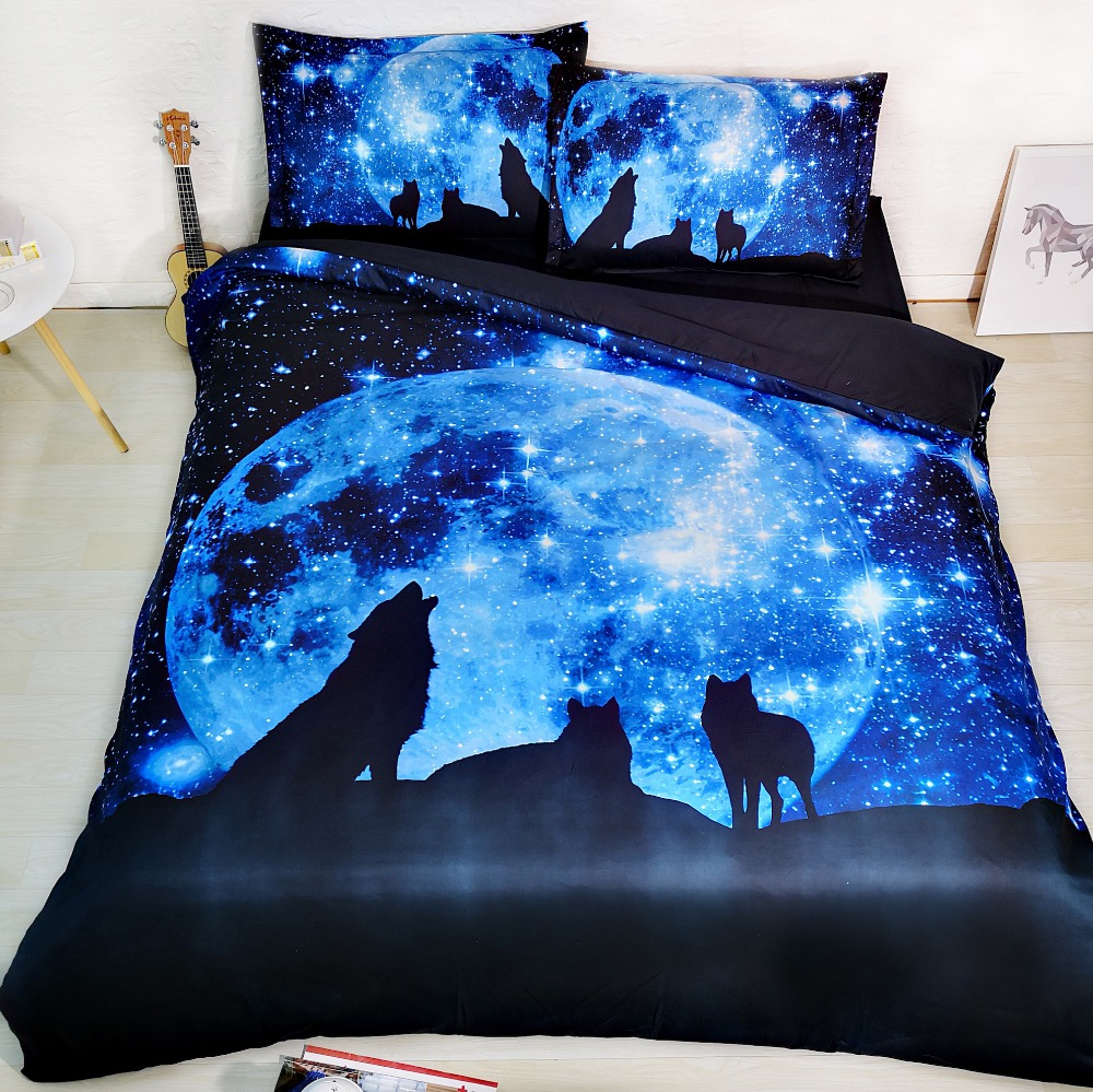 3pcs All Kinds Wolves Print Duvet Cover Pillowcase Set