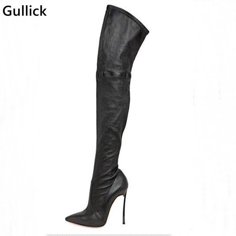 Настоящая фотография высокое качество Ботфорты выше колена черного цвета тонкие ноги сапоги эластичные сапоги до бедра узкие Лидер продаж