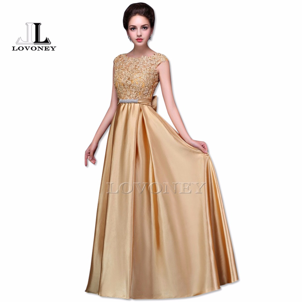 LOVONEY 2017 Sexy Open Back Long Golden Evening Dress Plus Size Evening Gown Formal Prom Party