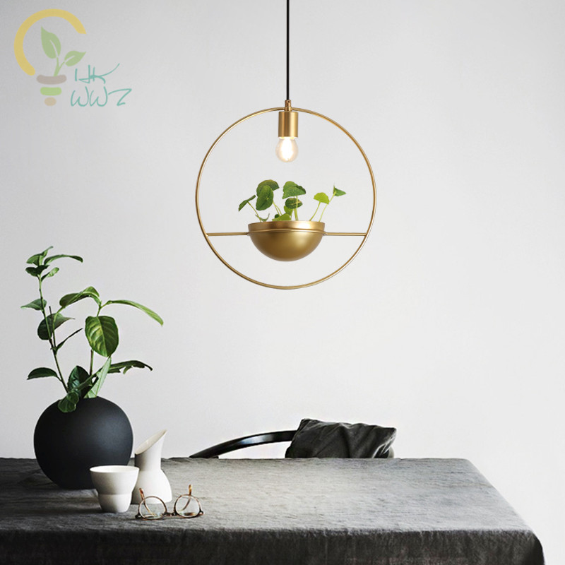 Modern Gold Plant Led Pendant Lights Creative Bar Coffee Store Iron Pendant Lamps luminaire suspendu Home Lighting FixturesModern Gold Plant Led Pendant Lights Creative Bar Coffee Store Iron Pendant Lamps luminaire suspendu Home Lighting Fixtures