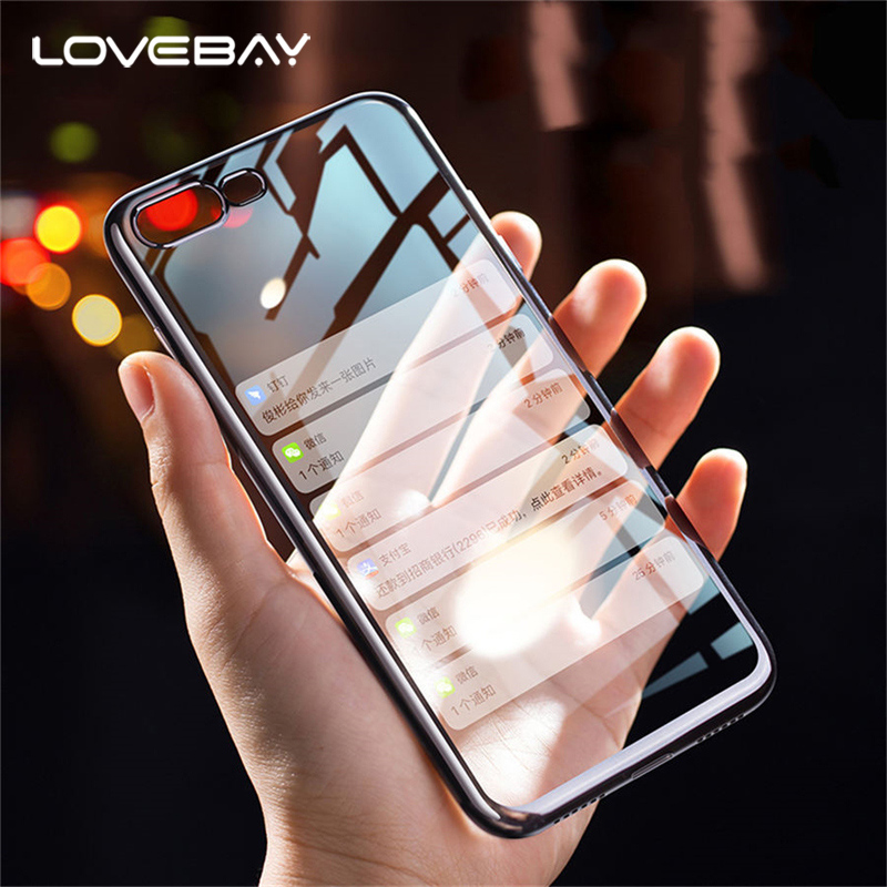 Lovebay Phone Case For iPhone 6 6s 7 8 Plus X 5 5s SE Slim Electroplate Soft TPU Clear Crystal Rubber For iPhone 7 Phone Case