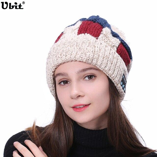 Ubit Wireless Bluetooth Earphone Fashion Beanie Warm Headset Music Cap  Winter Outdoor Sport Stereo Smart Hat bcd493f87bd6