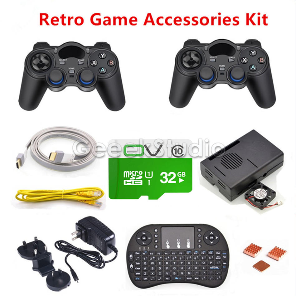 32GB RetroPie Game Accessories Kit 2pcs Wireless Controllers Gamepad Joypad Joystick for Raspberry Pi 3 Model B стоимость