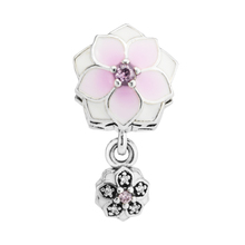 Fits for andora Bracelet Spring love dahlias pendant pink enamel and zircon 100% 925 sterling silver DIY charms free shipping