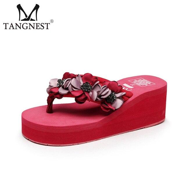 16f1f06f6407 Tangnest Women High Wedge Flip Flops Women Platform Height Increasing  Sandals Summer Beach Slides Flower Female Slippers XWT1114