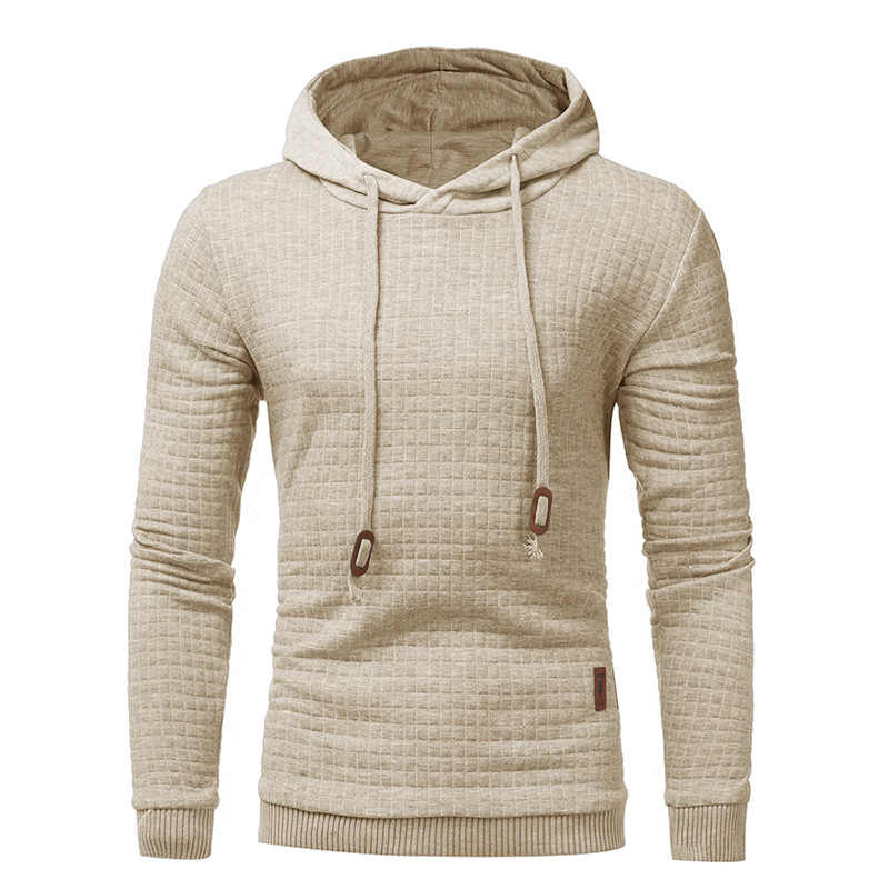 2019 Plaid Hoodies Men Long Sleeve Solid Color Hooded Sweatshirt Male Hoodie Casual Sportswear Free Shipping