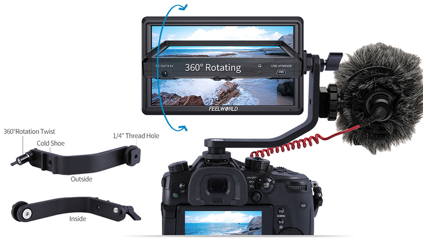 FEELWORLD S55 5.5 cal DSLR ekran aparatu 4K HDMI LCD IPS HD 1280x720 wyświetlacz monitor zewnętrzny 8.4V DC wyjście dla Canon Sony Nikon 12