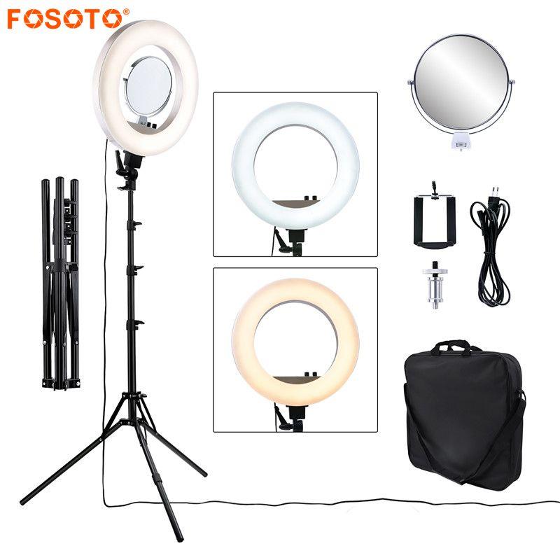Fosoto CY-R50L 18 polegada 480led 3200 K-5500 K Dimmable iluminação fotográfica 55 W Anel Lâmpada Luz & Tripé suporte Para Câmera de Vídeo De Telefone