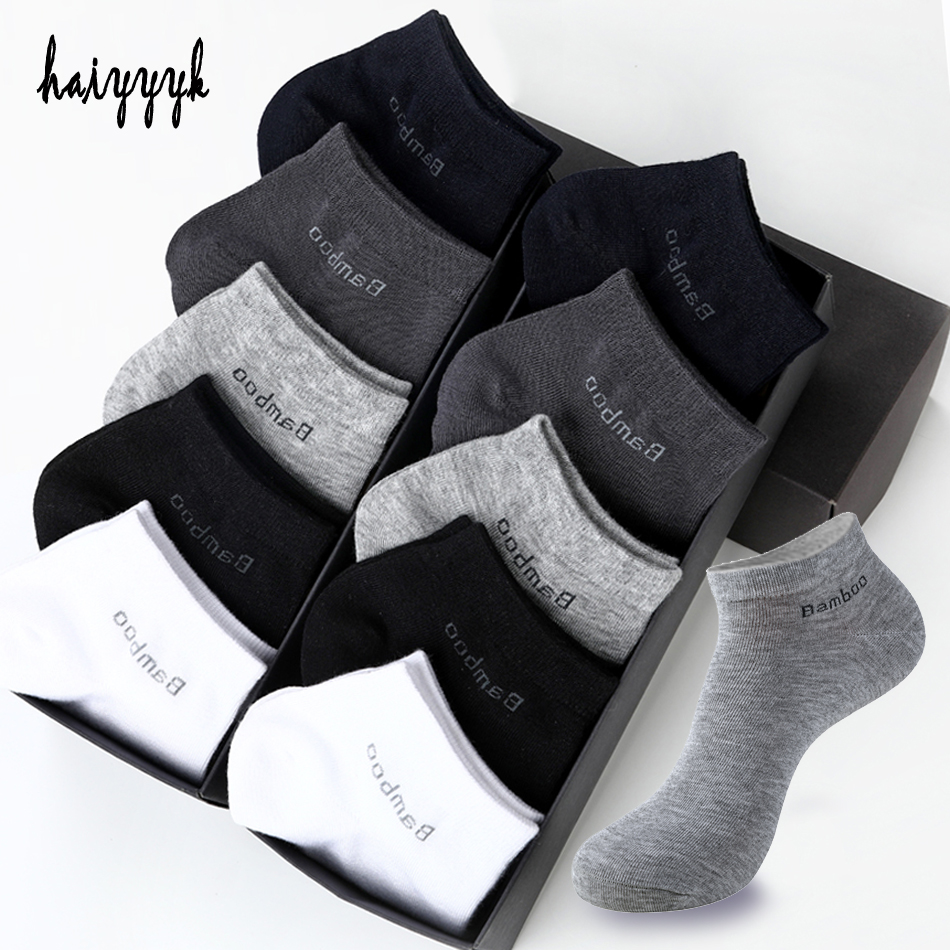 10 Pairs / Pack Men's Bamboo Fiber   Socks   Short High Quality New Casual Breatheable Anti-Bacterial Man Ankle   Socks   Men