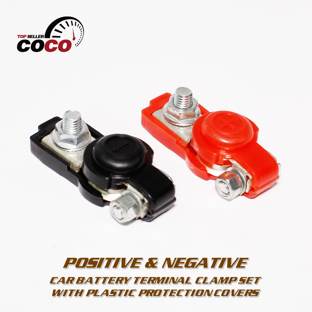 Pair negative positive car quick release cable battery terminal clamp top post end for dodge for
