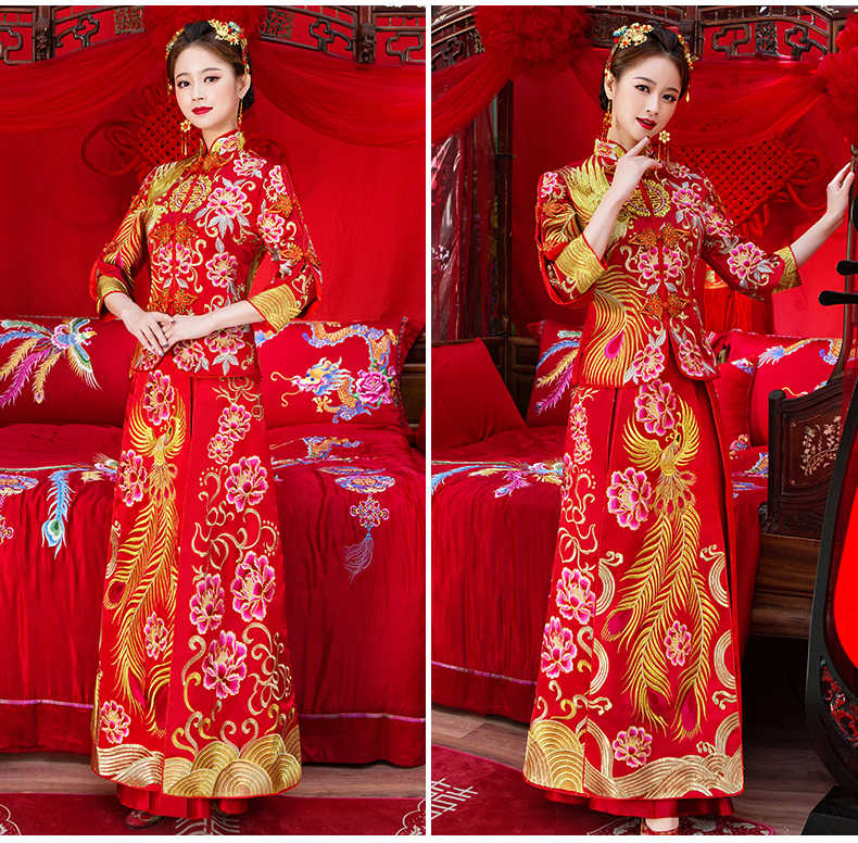 ヴィンテージ中国風フォーマルドレスロイヤルフェニックス結婚式のチャイナ衣装赤花嫁の伝統的な唐スーツ刺繍袍新